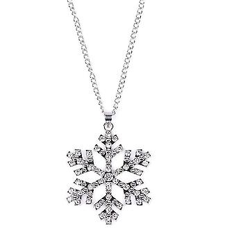 18k white-gold plated snowflake necklace