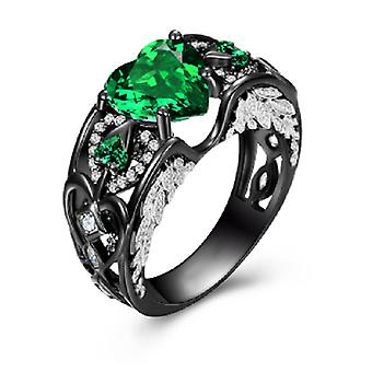 Lab created emerald solitaire heart charcoal black ring
