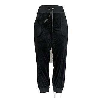 Anybody Women's Petite Lounge Jogger Pants Velour Black A345308