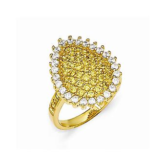 Cheryl M 925 Sterling Silver 14k Gold Plated White Yellow CZ Cubic Zirconia Simulated Diamond Ring Jewelry Gifts for Wom