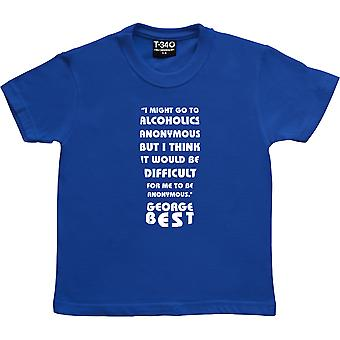 George Best Alcoholics Anonimo Citazione Royal Blue Kids' T-Shirt