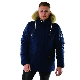 Ellesse Blizzard Antracite 3704 Heritage Parka Faux Hood Giacca