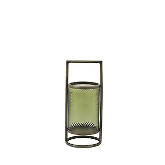 Light & Living Hurricane 14x32cm - Thilo Glass Olive Green And Antique Bronze