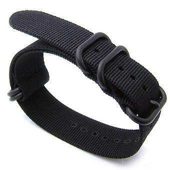 Strapcode n.a.t.o ur rem 20mm eller 22mm nato 5 ringe zulu tung tråd nylon ur band, sort - ip sort spænde
