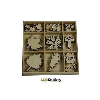 CraftEmotions Caixa de ornamento de madeira - folhas grandes e pequenas 75 pcs - caixa 10,5x10,5cm