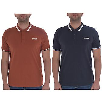 Lambretta Mens Single Tipped Collar Cotton Short Sleeve Casual Polo Shirt Top