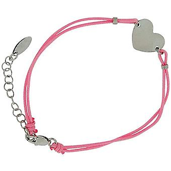 TOC Girls Sterling Silver Heart Charm Pink Cord Bracelet 6