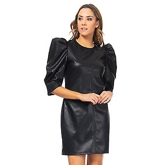 Leather dress with puffed sleeves