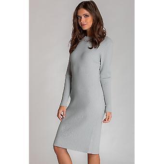 Γκρι μπλε χαλαρό ταιριάζει midi μήκος πλεκτό φόρεμα