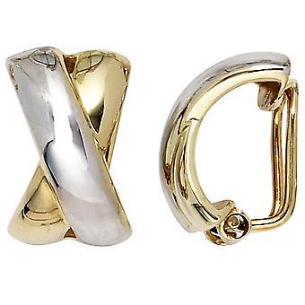 مقاطع الأذن 333 الذهب الأصفر الذهب أقراط ثنائية اللون مقاطع مقاطع الأذن الذهبية