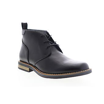 Robert Wayne Minos Mens Black Leather Mid Top Lace Up Chukkas Boots