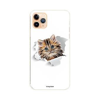 Casco para iPhone 11 Pro Max Patrón suave gato demasiado lindo