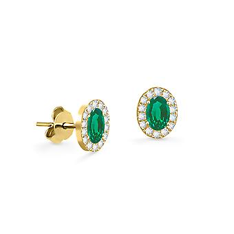 Earrings Princess 18K Gold and Diamonds with Ruby | Emerald | Sapphire - Yellow Gold, Emerald