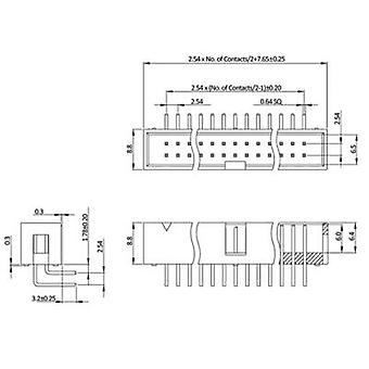 econ connect WSN16W Pin stripe ingen ejektor Kontaktavstand: 2,54 mm Totalt antall pinner: 16 Nei. av rader: 2 1 stk(er) skuff