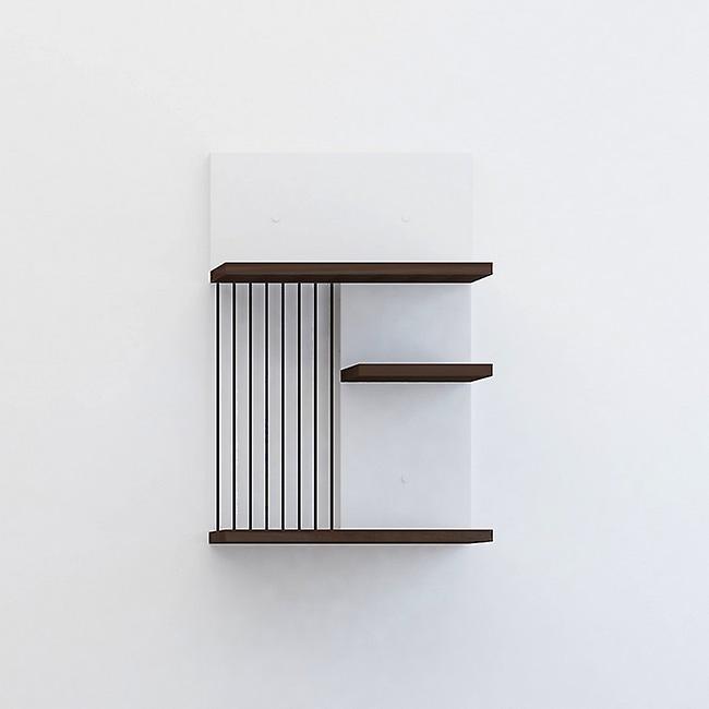 Mensola Madera Color Bianco, Wenge, Nero in Truciolato, Metallo Verniciato 40x20x60 cm