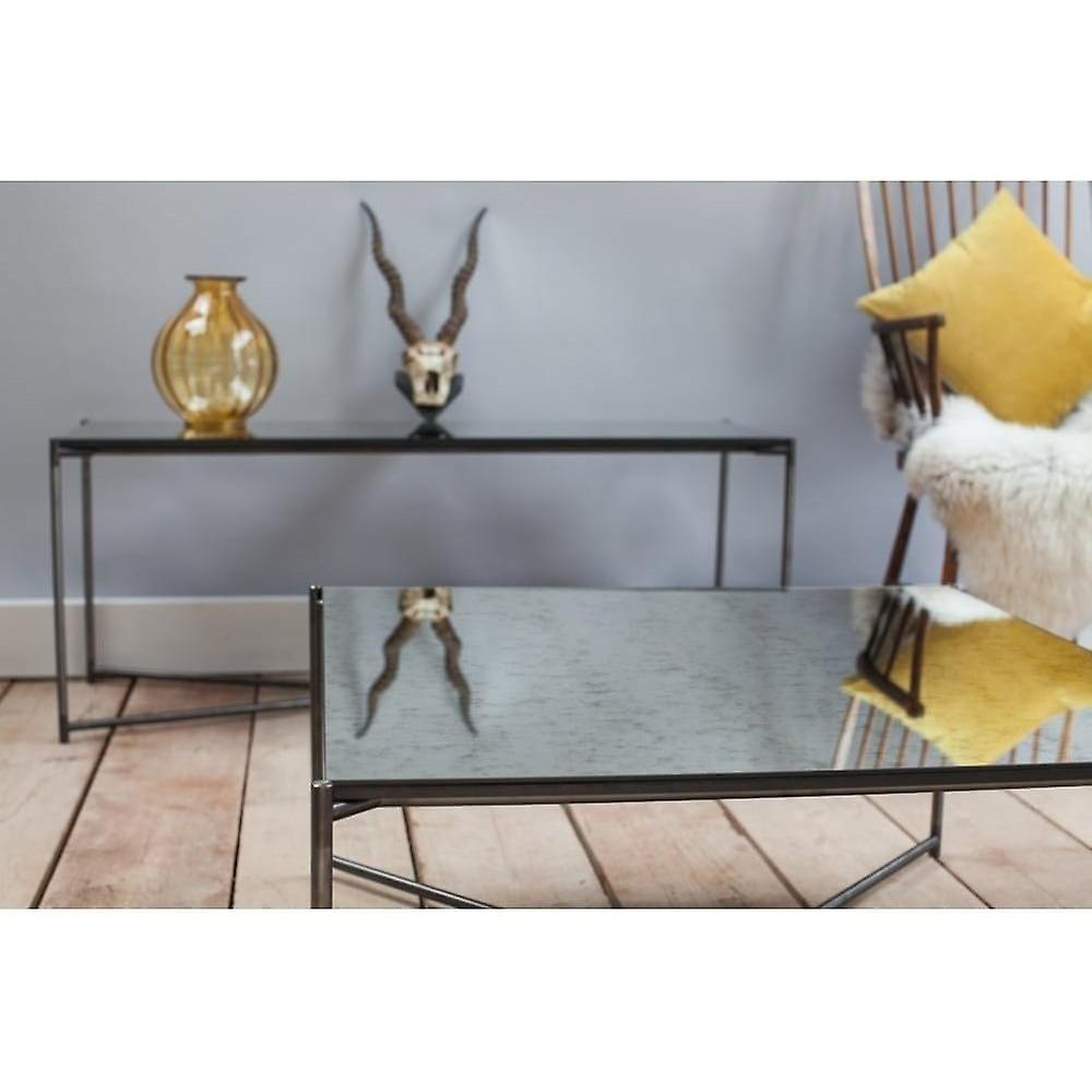 Gillmore Antiqued Glass Large Console Table With Gun Metal Cross Base