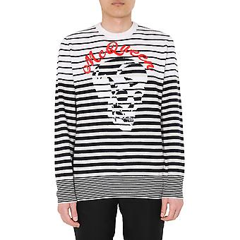 Alexander Mcqueen 610702q1wyr9277 Men's White/black Wool Sweater