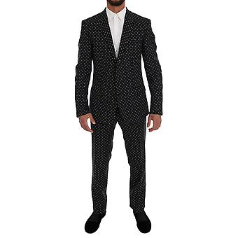 Dolce & Gabbana Black Wool Polka Dot MARTINI Slim fit Suit