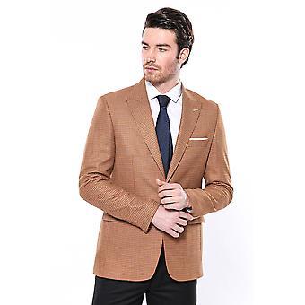 Patterned orange slim-fit blazer