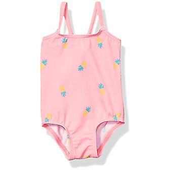 أساسيات الطفل الفتيات ملابس السباحة قطعة واحدة، الأناناس الوردي، 6M