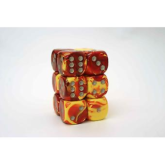 Chessex Gemini 16mm D6 x 12 - Red-Yellow w/silver