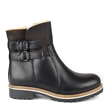 Shepherd of Sweden Smilla Black Leather Sheepskin Lined Boot