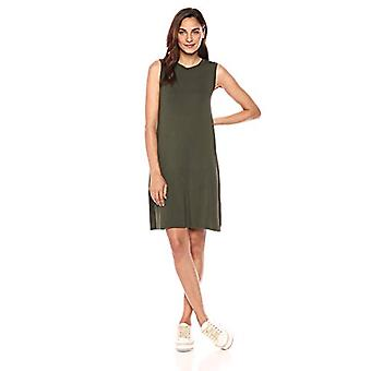Marchio - Daily Ritual Women's Jersey Muscle Swing Dress, Forest Green, ...