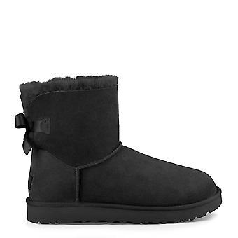 UGG ميني بيلي القوس الثاني أحذية جلد الغنم الأسود