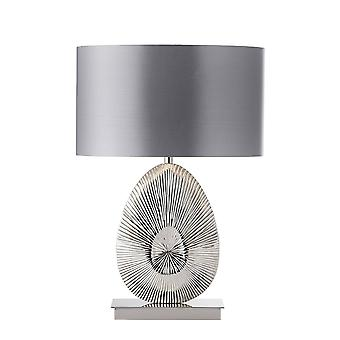 Endon Simeto - Pöytälampun kiillotettu nikkelilevy, lämmin harmaa faux satiini, E27