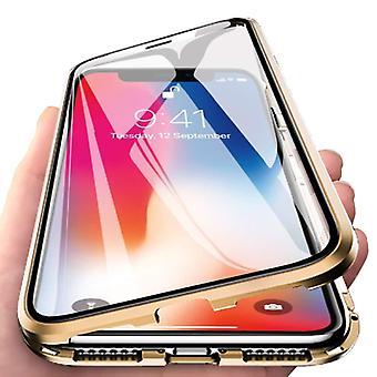 Stoff zertifiziert® iPhone 6 s magnetische 360 ° Fall mit gehärtetem Glas - Ganzkörper-Cover-Etui + Bildschirmschutz Gold