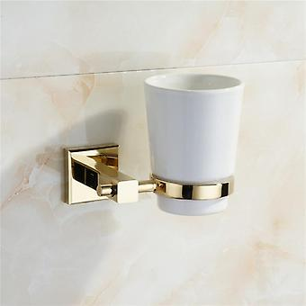 Gold Cup Holder -brass  Ceramic Toothbrush Hanger