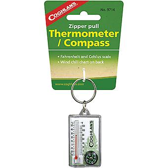 Coghlan&apos&s Zipper Pull Thermometer & Compass Keychain, Windchill Chart, Survival