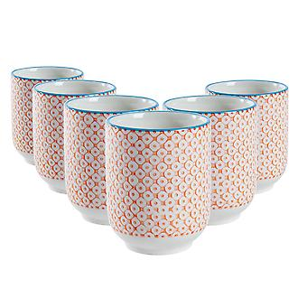 Nicola Spring Set of 6 Hand Printed Porcelain Mugs - Japanese Style Print - 280ml - Orange