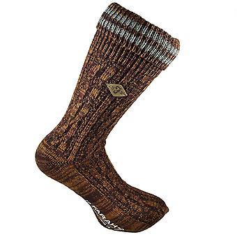 Farah Burgundy, Gold & Grey Striped Men's Socks