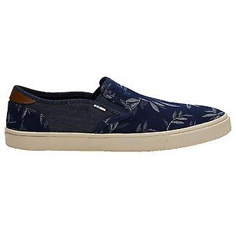 Toms Baja Shoes - Navy Leaf Print / Denim
