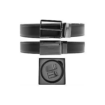 Hugo Boss Gion-ch nahka musta vyö 2 solki asetettu