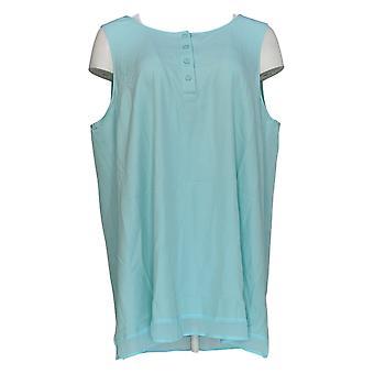 Linea Por Louis Dell'Olio Women's Top Sleeveless Henley Neck Azul A306414