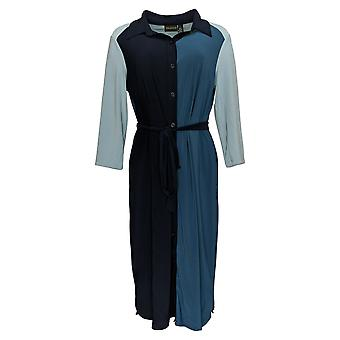 Nina Leonard Dress 3/4-Sleeve Color Block Button-Down Shirt Blue 703-532