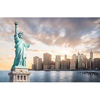 Muurschildering Het Vrijheidsbeeld met Lower Manhattan