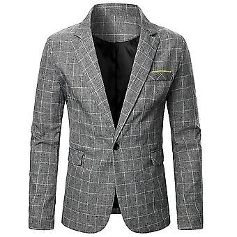 YANGFAN Mens Plaid Casual Suit Jacket Check One Button Blazer