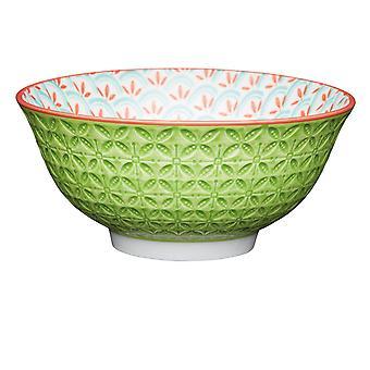 Kitchen Craft Breakfast Bowl Geo Emboss Lime KCBOWL31