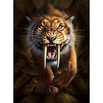 Full on view of a Saber-toothed Tiger Poster Print