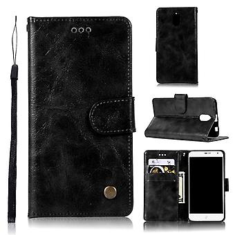 For Lenovo Vibe P1M Retro Copper Button Crazy Horse Horizontal Flip PU Leather Case with Holder & Card Slots & Wallet & Lanyard(Black)