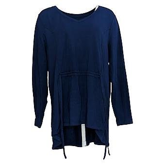 AnyBody Women's Top Long Sleeve V Neck With Drawcord Detail Blue A374504