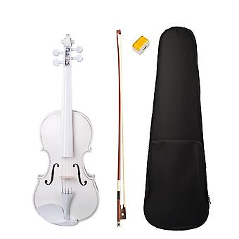 Fiddle White Violin Set- Use 4/4 Violin, W/case Bow Rosin, Beginners,