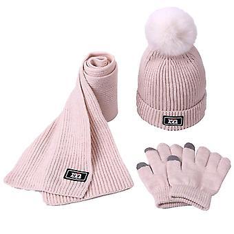 Conjunto de sombrero de bufanda, gorros de pompón bebé sombreros de calaveras, niños invierno lana caliente