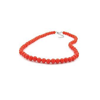 Necklace Beads Orange-red 8mm 40cm