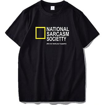 National Sarcasm Society Funny Black T-Shirt for Men/Women