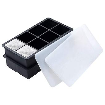 2PCS 21.2x11.5x5cm 2inch 8grid Square Silicone Ice Mold Black with Cover