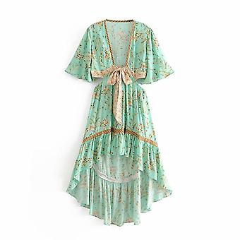Women Floral Print Short Sleeve Rayon Bohemian Dress